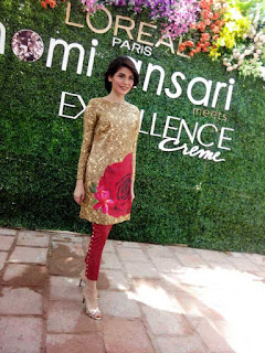 Nomi Ansari. Ambassador of fashion, Gemstone Collection, Color Story, L'oreal Paris Pakistan, L'oreal creme excellence, Sworovski, silk prints, floral, spring, ss15, fashion, fashion blog, fashion blog of pakistan, top fashion blog, fashion news, luxury pret