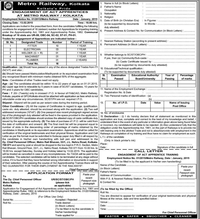 Metro Railway Kolkata 16 Act Apprentices recruitment vacancies