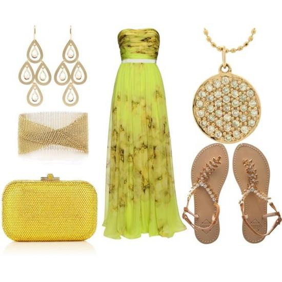 Strapless gown, sandals, hand bag, ear rings and bracelet for ladies
