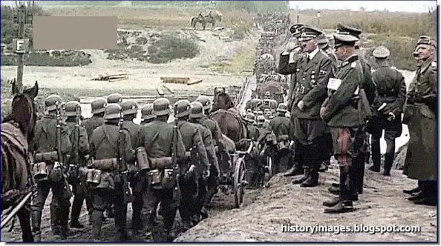Hitler salute soldiers  occupied Poland 1939