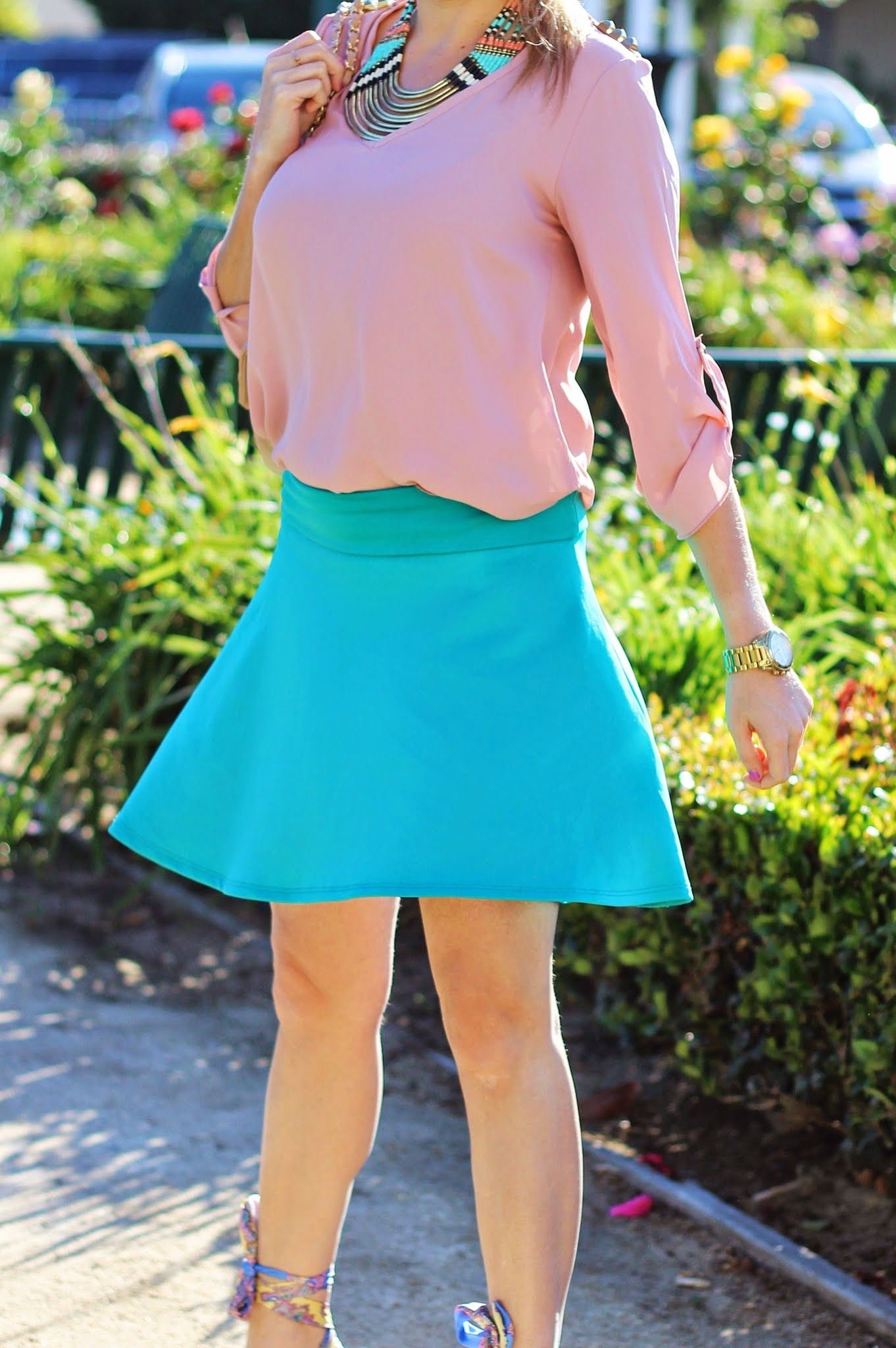 Spring Outfit, Mauve, Charlotte Russe Teal, Tribal Necklace, Skater Skirt, Shoedazzle Tika Wedges, Quilted Purse