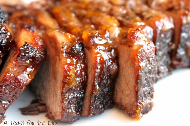 Braised Brisket with a Peach Glaze