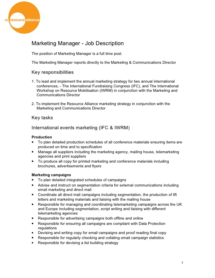 marketing operations   email marketing manager job descriptionthe marketing operations  mo  function has emerged due to the need for a more transparent  efficient  and accountable view of marketing