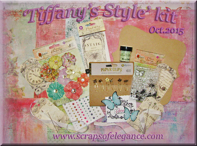 Scraps of Elegance scrapbook kits: October Tiffany's Style kit, featuring paper and embellishments from Prima's Royal Menagerie collection