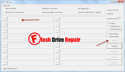 Download FC MpTool V3.05 and repair alcor AU698x controller