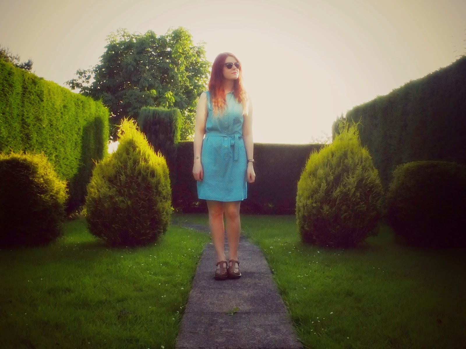 Cow Vintage Dress and Dr Marten Shoes on Hello Terri Lowe UK Style blog.