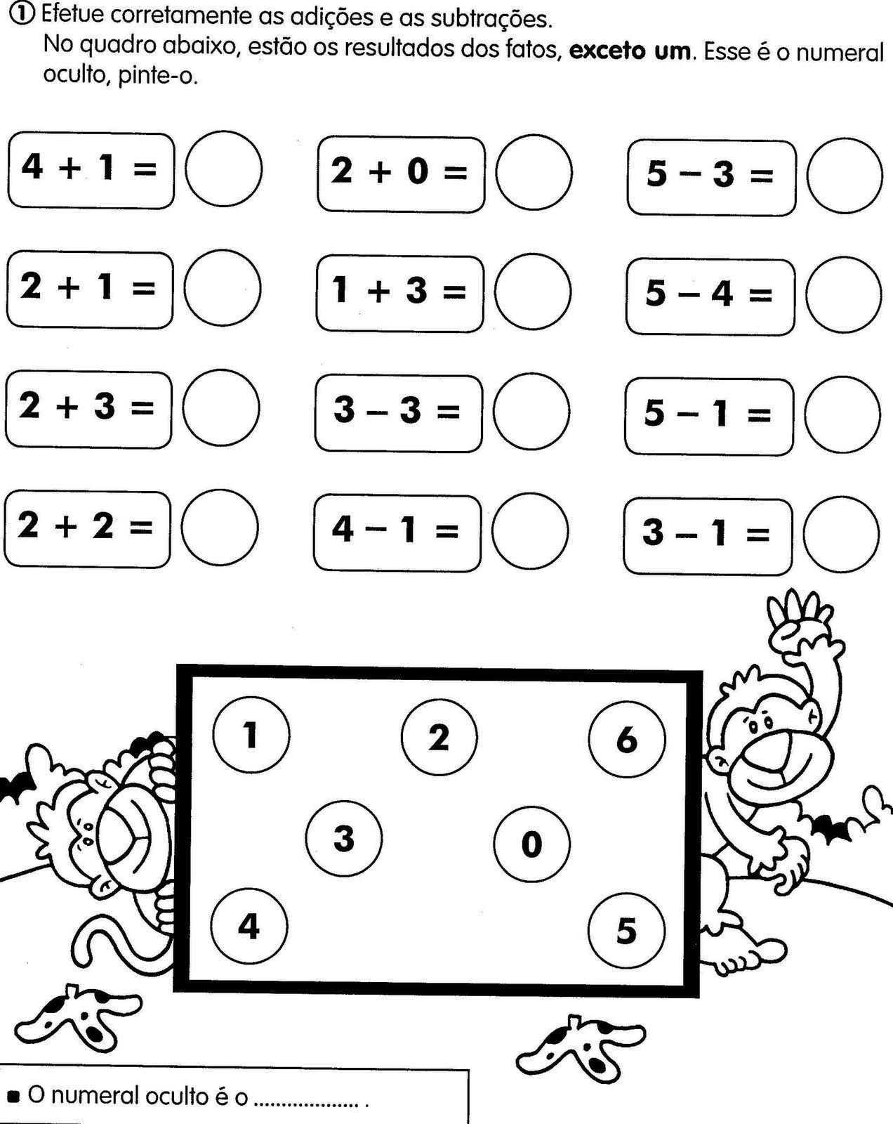 Cantinho da Educação: Atividade matematica 1º ANO