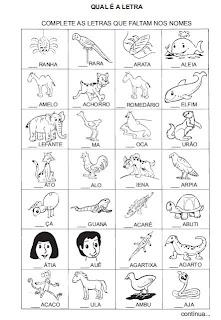 Atividade - Complete a letra inicial. Alfabetização.