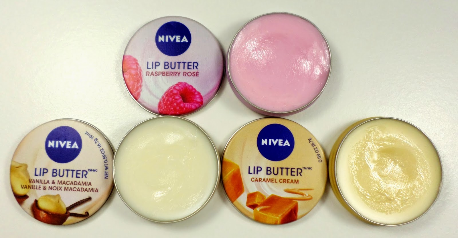 Nivea Lip Butters Raspberry Rose, Vanilla Macadamia & Caramel Cream