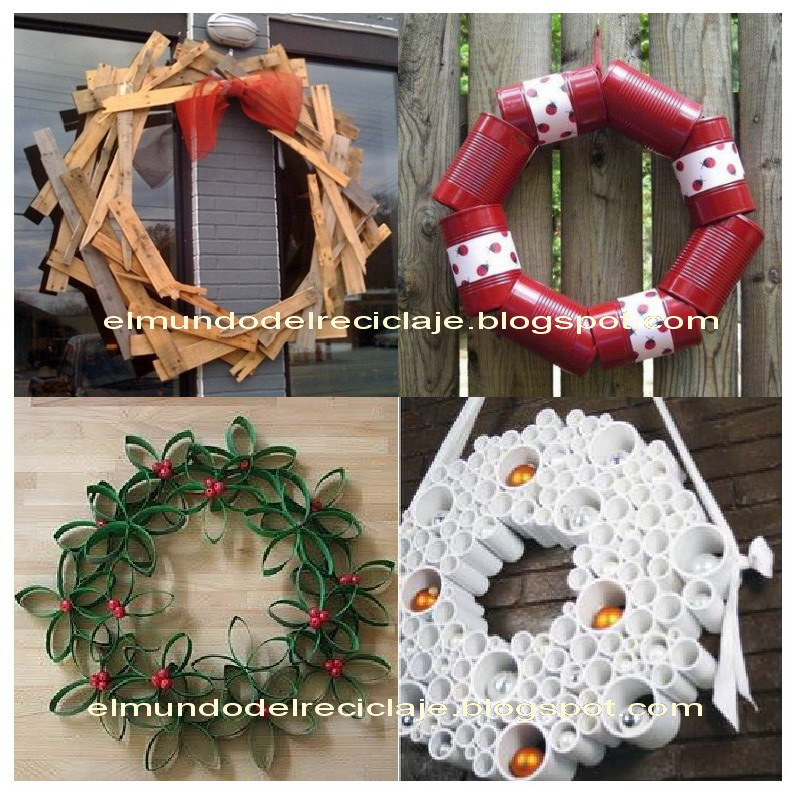 El mundo del reciclaje diy corona de navidad - Trabajos manuales para navidad ...