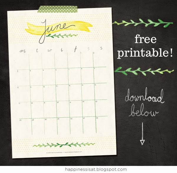 Free June calendar printable download by Happiness is...