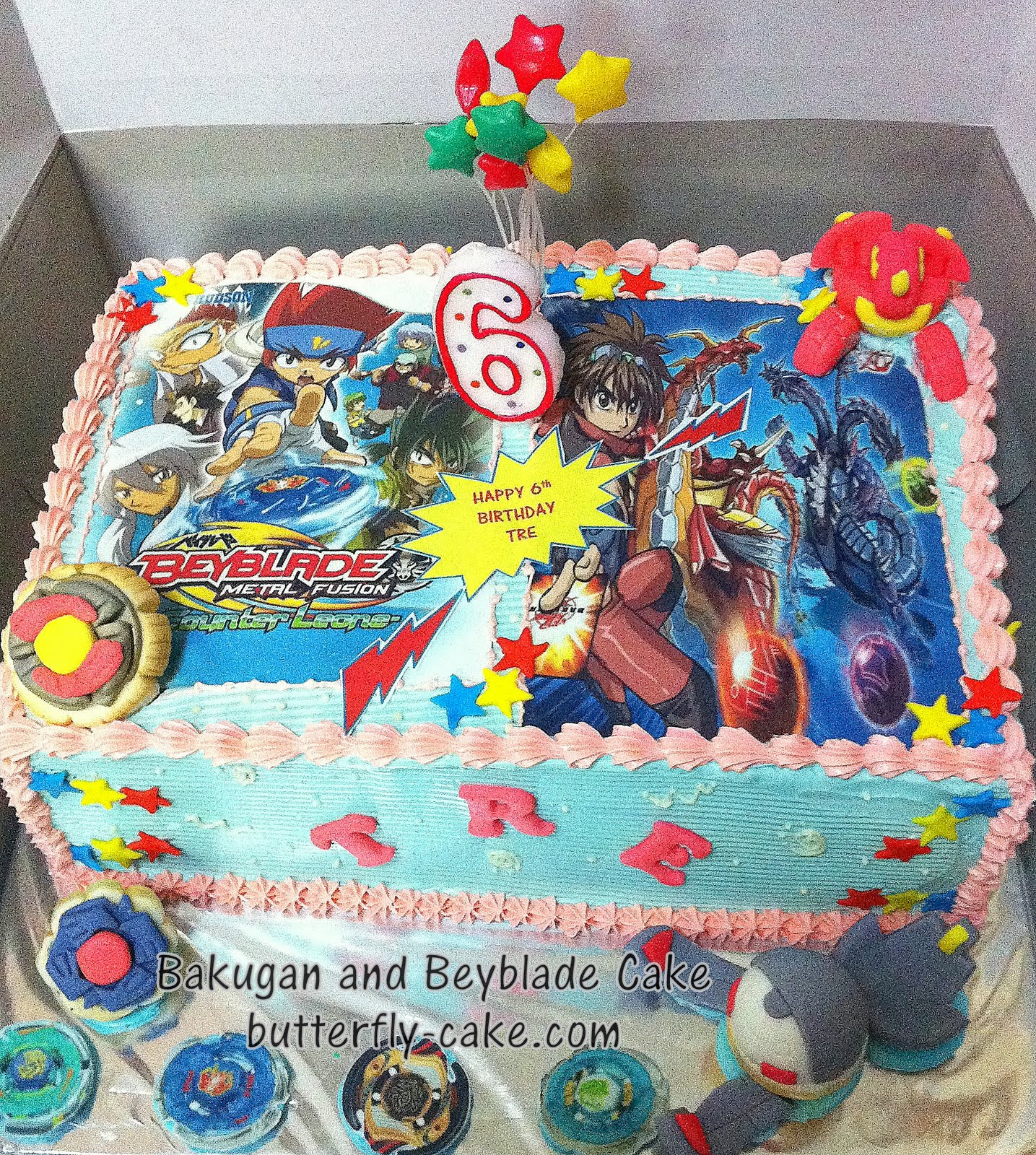 Butterfly Cake Bakugan And Beyblade Cake For Tre