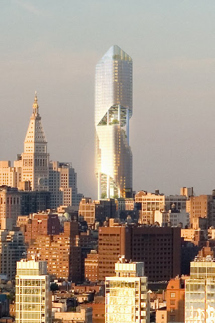 Photo of new New York tower at sunset in the skyline