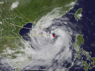 Taifun NESAT wandert nach Hainan (China) und Nord-Vietnam, Taifun Typhoon, Taifunsaison, 2011, Hainan, Vietnam, Pazifik, September, Oktober, aktuell, Satellitenbild Satellitenbilder, Verlauf, Vorhersage Forecast Prognose,