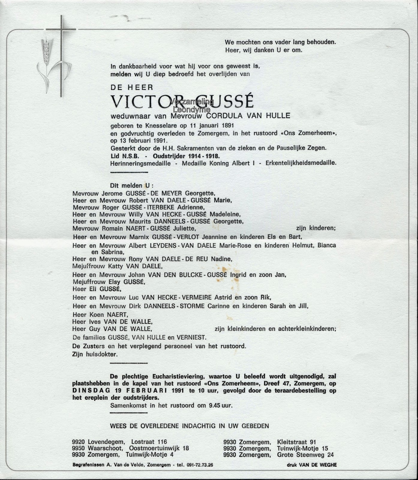 Rouwbrief, Victor Gussé 1891-1991