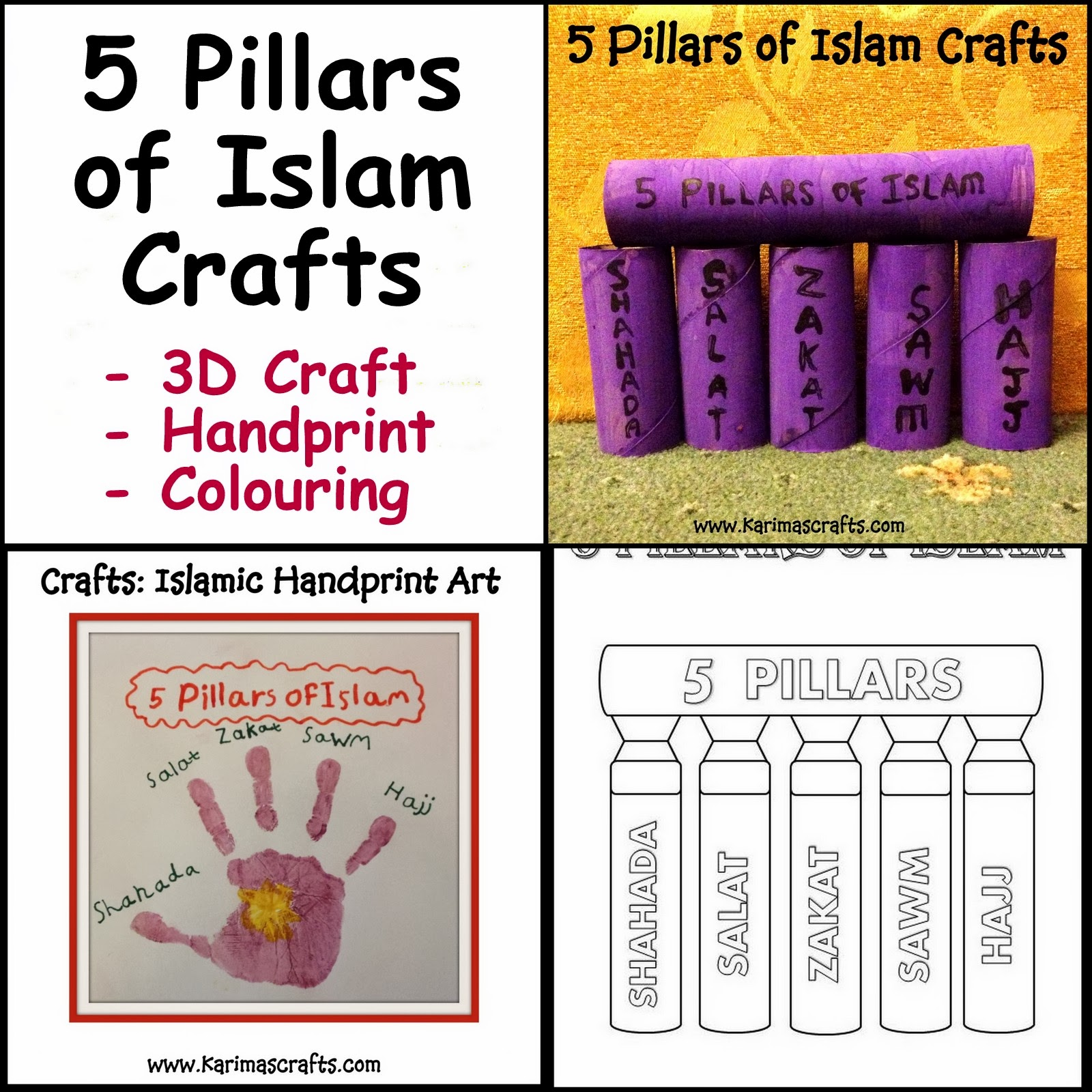 Karimas Crafts 5 Pillars of Islam Crafts 30 Days of Ramadan Crafts – 5 Pillars of Islam Worksheet