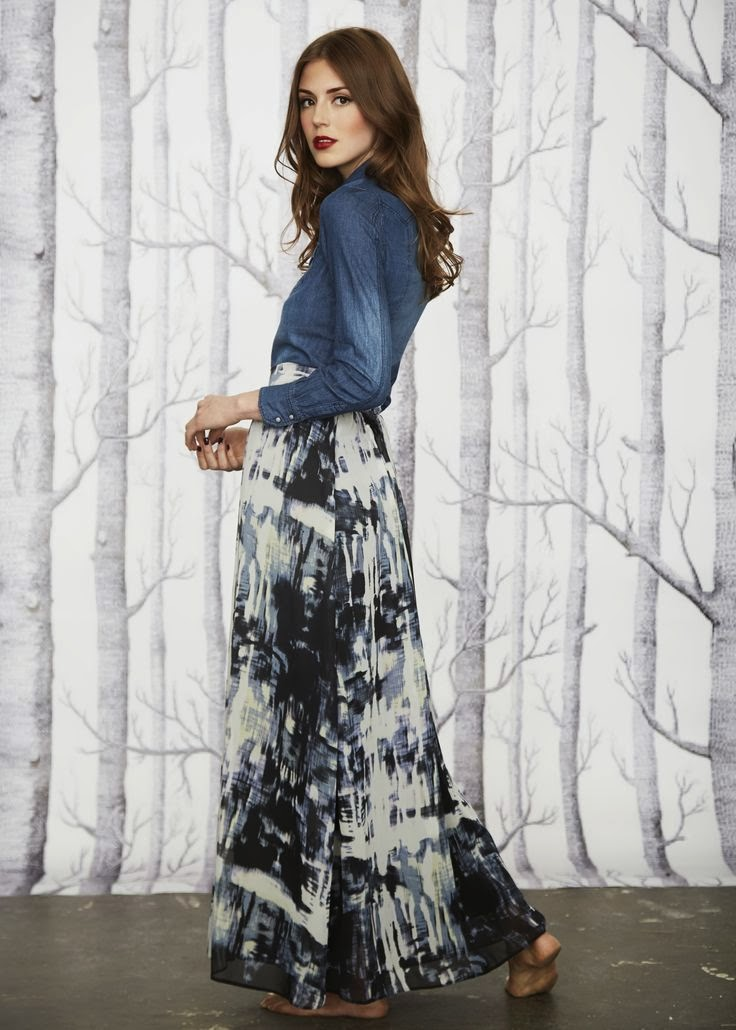 pair chambrey denim top with knee and maxi length skirts for a trendy modest look