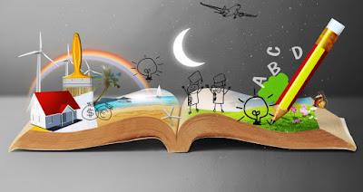 libro decorado con figuras imaginativas
