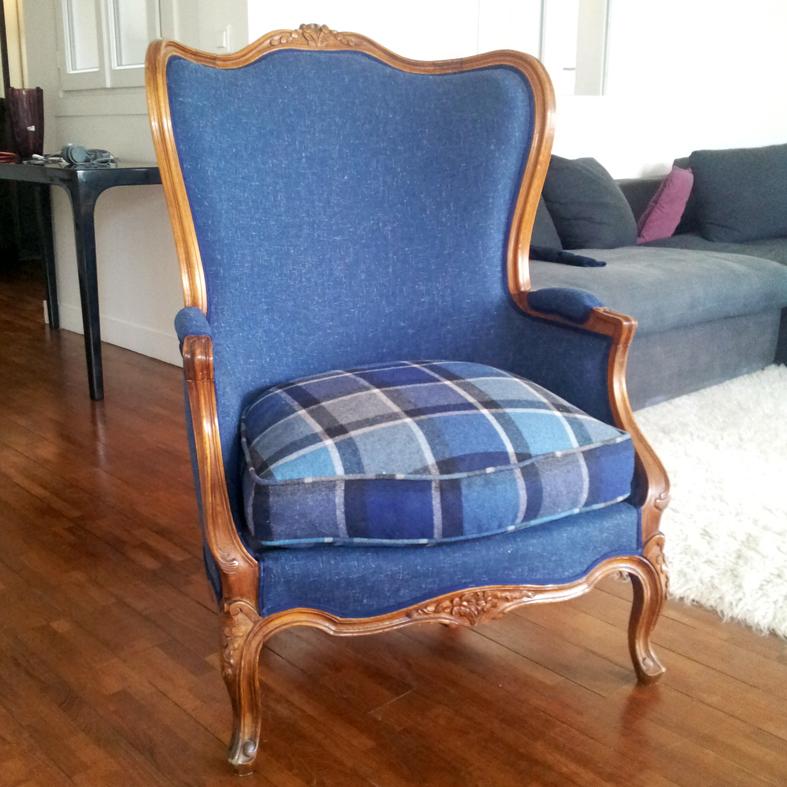 Avant apr s berg re louis xv atelier velvet for Housse de fauteuil bergere