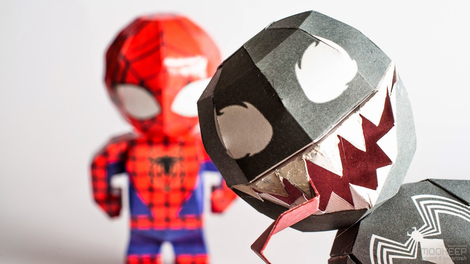 Spiderman And Venom Papercraft Model Chibi