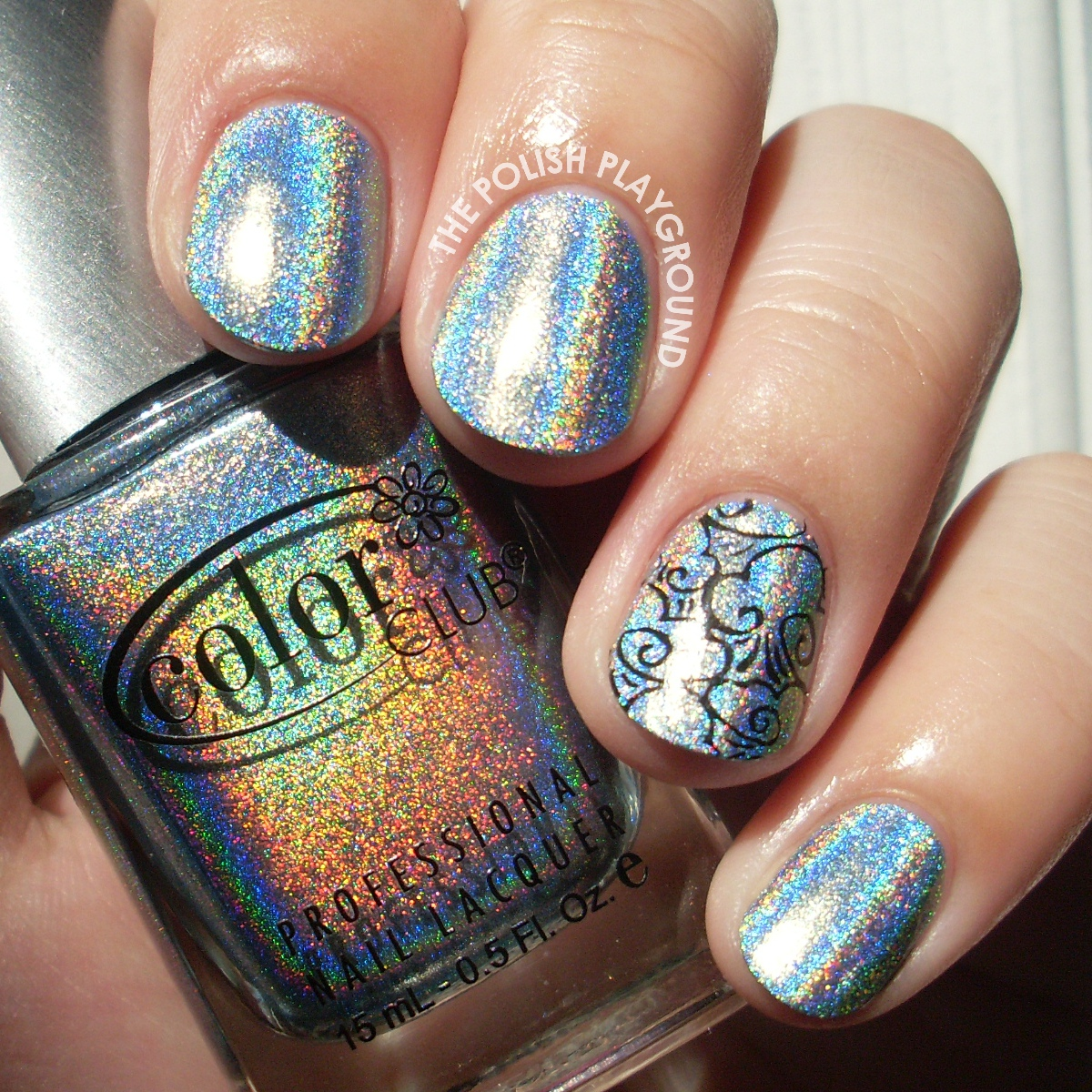 Color Club Blue Heaven with Cloud Stamping Accent Nail Art