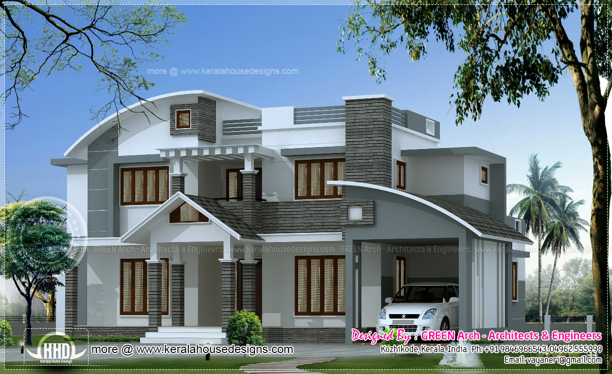Contemporary Mix Villa Design Part - 37: 2700 Sq-ft Villa Elevation
