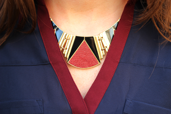 StyleSidebar - statement necklace, burgundy &amp; gold