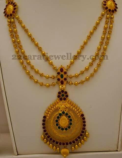 triple layered gold balls set   jewellery designs