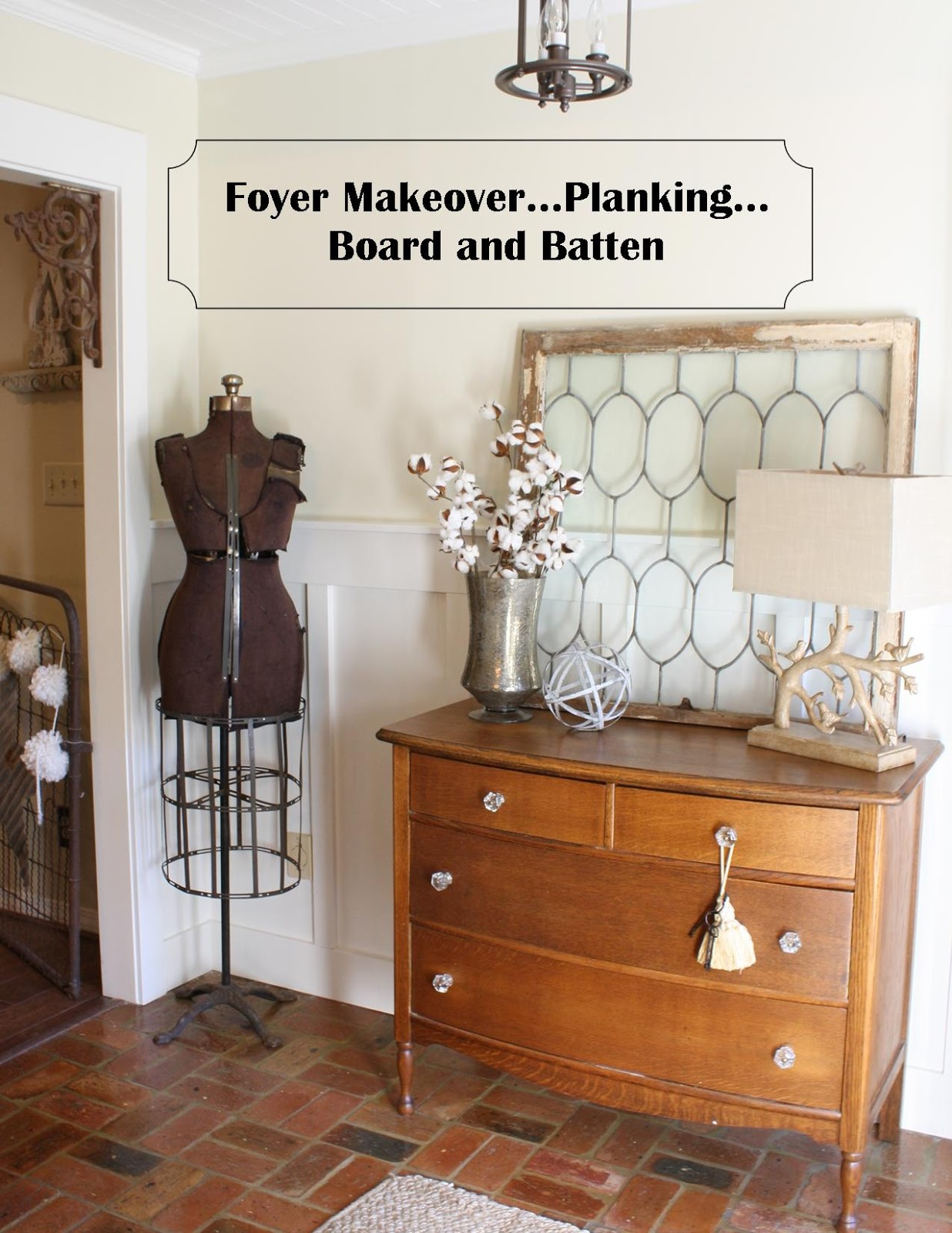 coastal charm foyer makeover planking board and batten