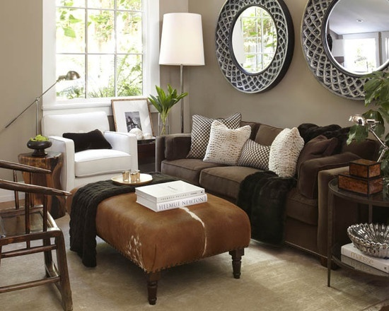 Simple details freshen up your old brown sofa for Chocolate brown couch living room ideas