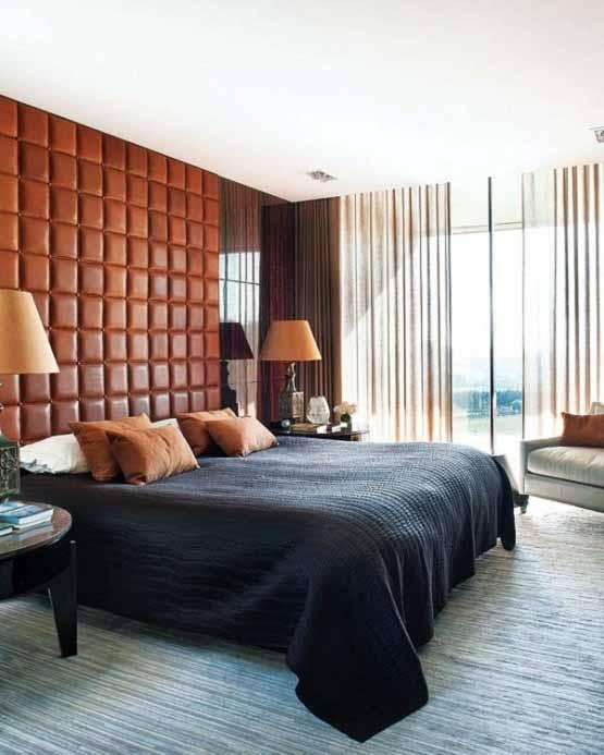 Rumah Modern di Portugal, tempat tidur, kasur badcover hitam, rumah minimalis