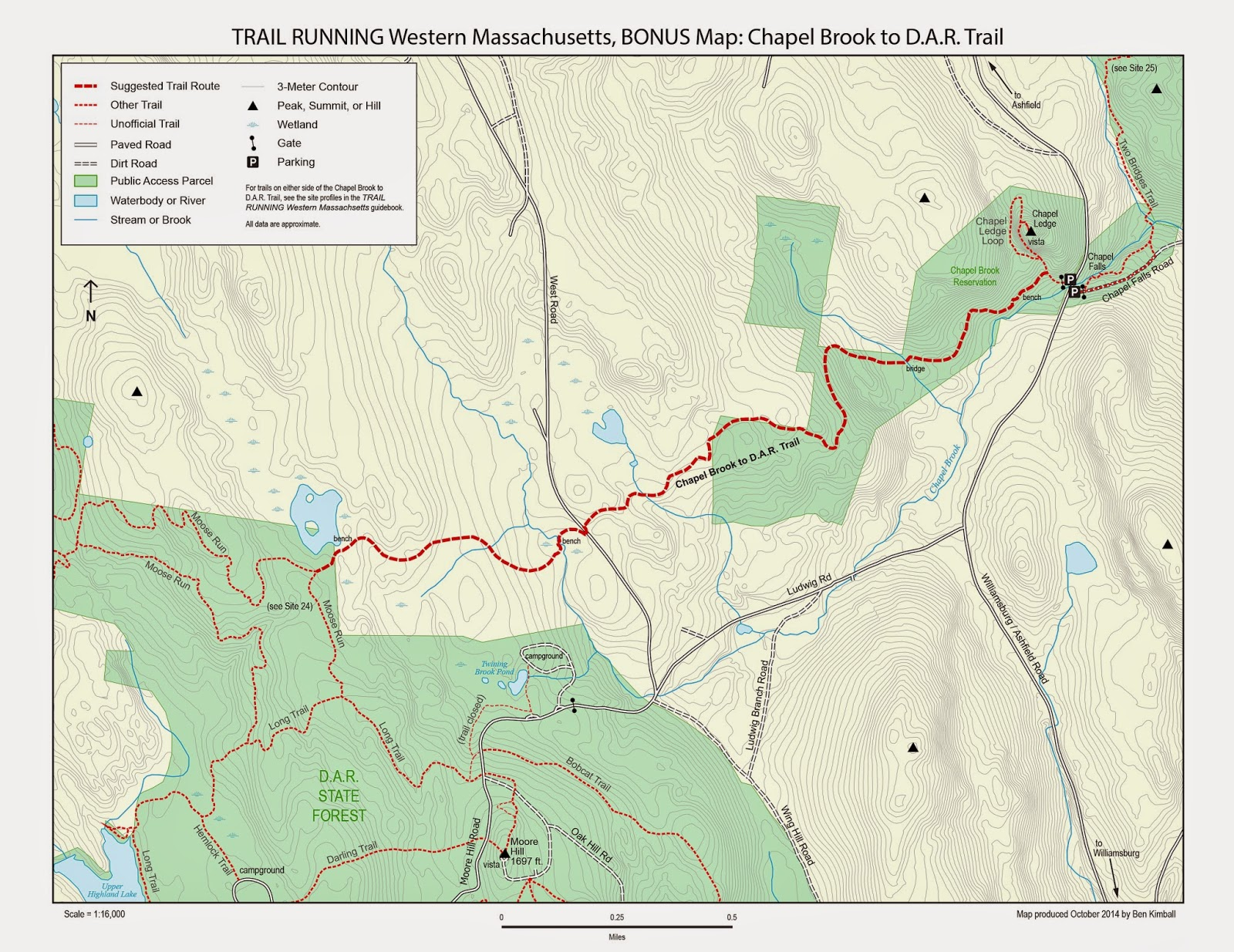 map of the Chapel Brook to DAR Trail