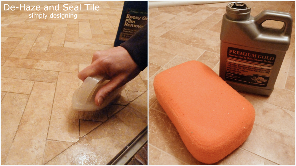 De-Haze and Seal Tile | a complete tutorial for laying tile flooring and herringbone tile flooring | #diy #herringbone #tile #tilefloors #thetileshop @thetileshop
