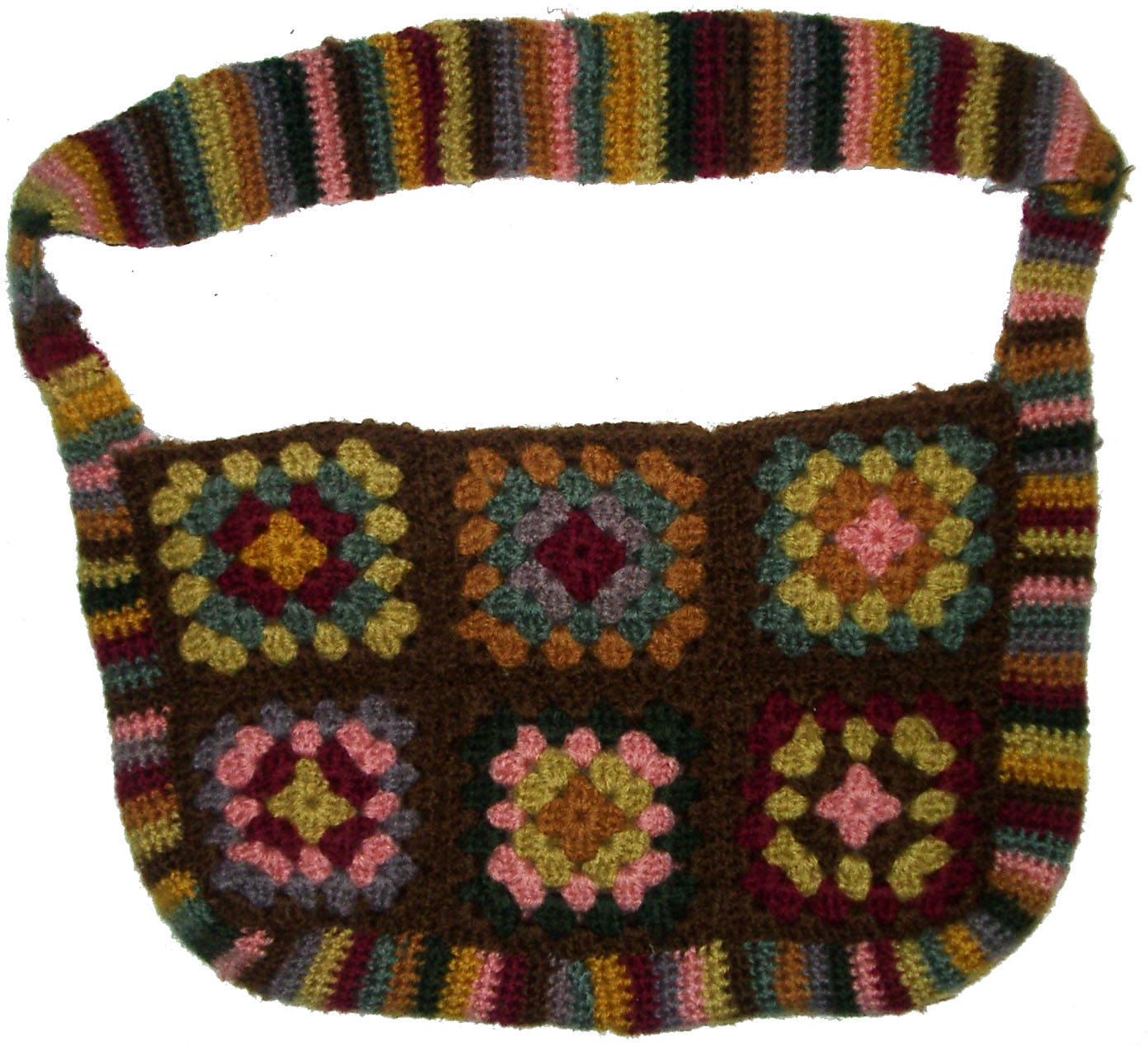 Crochet Granny Square Purse Pattern : Just a Stitch Away: Crocheted Granny Square Bag