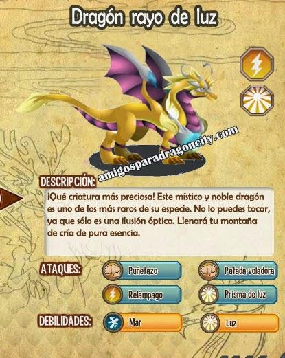 imagen de las caracteristicas del dragon rayo de luz