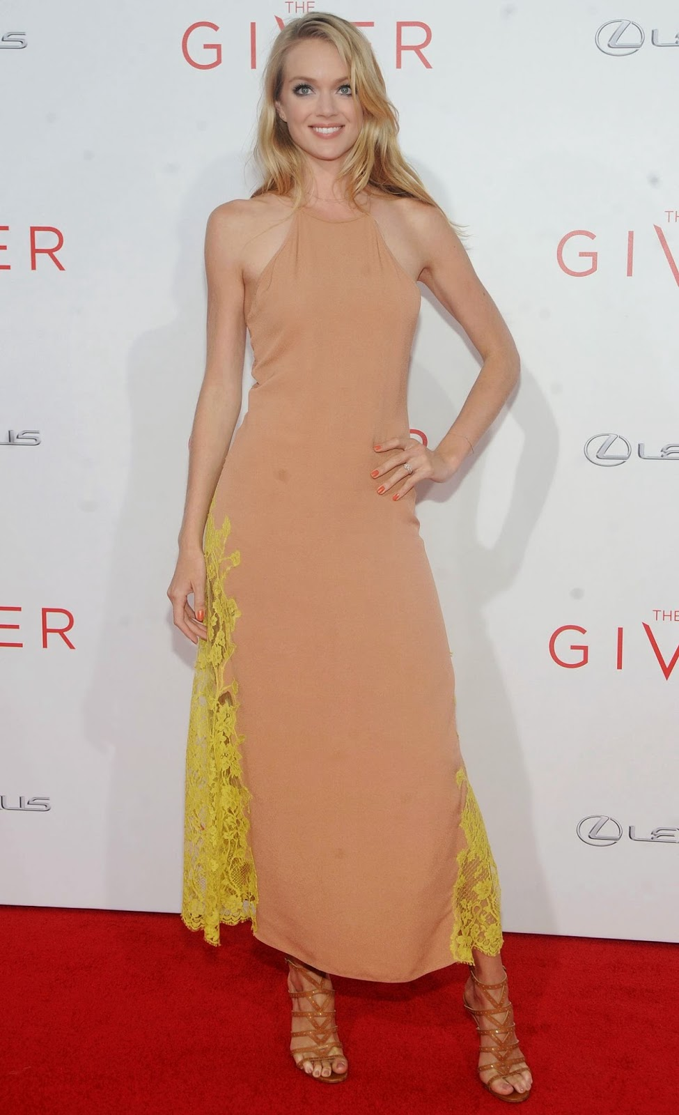 Lindsay Ellingson flaunts a Wes Gordon halter dress at 'The Giver' NYC Premiere