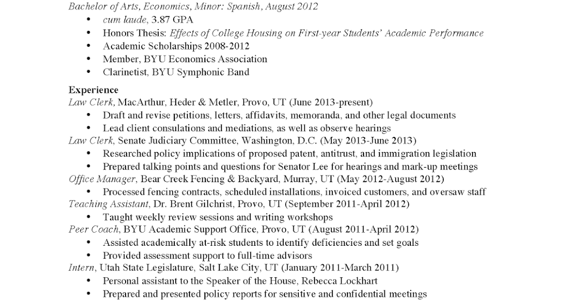 JRCLS DC Law Student Resume Seeking Summer Position in