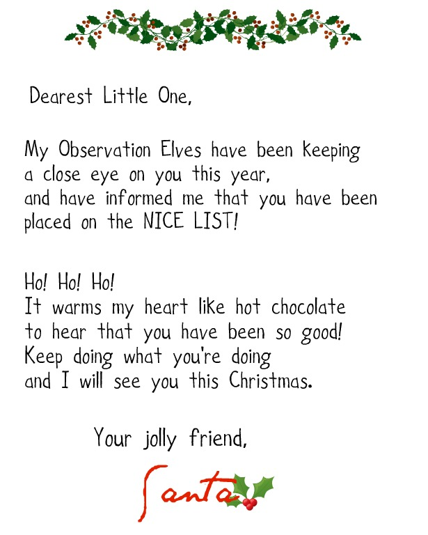 Crafty confessions printable santa naughty and nice letters click here to download the nice list letter spiritdancerdesigns Image collections