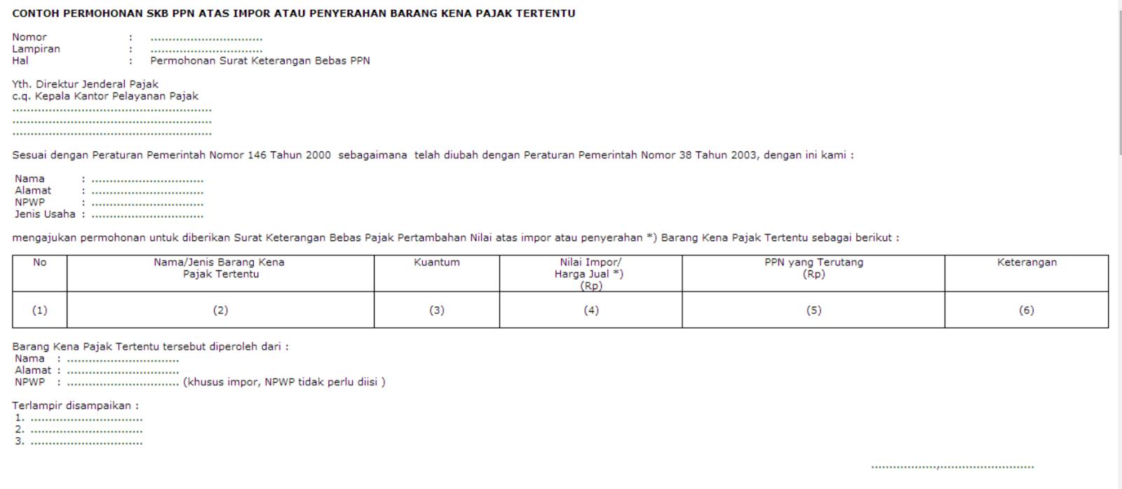 contoh surat permohonan SKB PPN yang dibebaskan