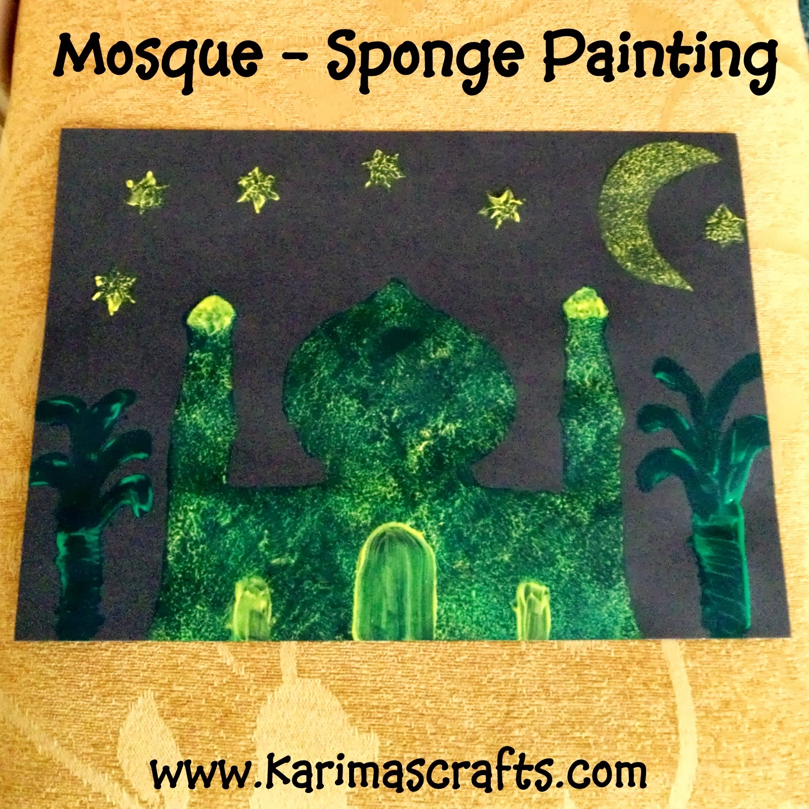 mosque sponge painting Ramadan Crafts Islamic Muslim