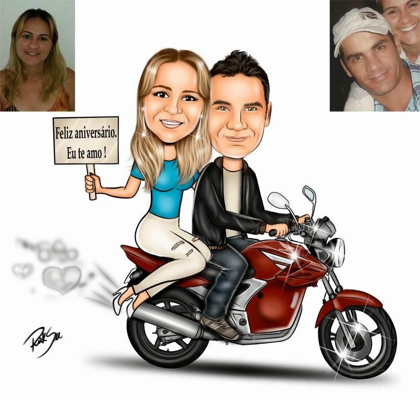 caricatura de casal romântico