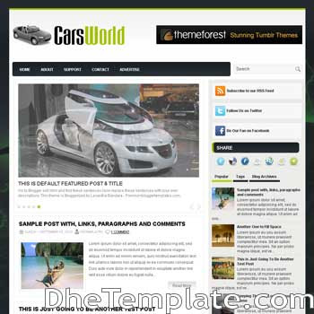 CarsWorld blog template. magazine blogger template style. automotive template blogspot. 3 column footer blogspot template