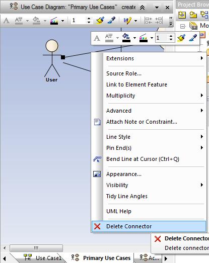 usuwanie relacji (connector) z diagramu