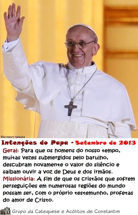 Intenções do Papa Francisco - Setembro de 2013