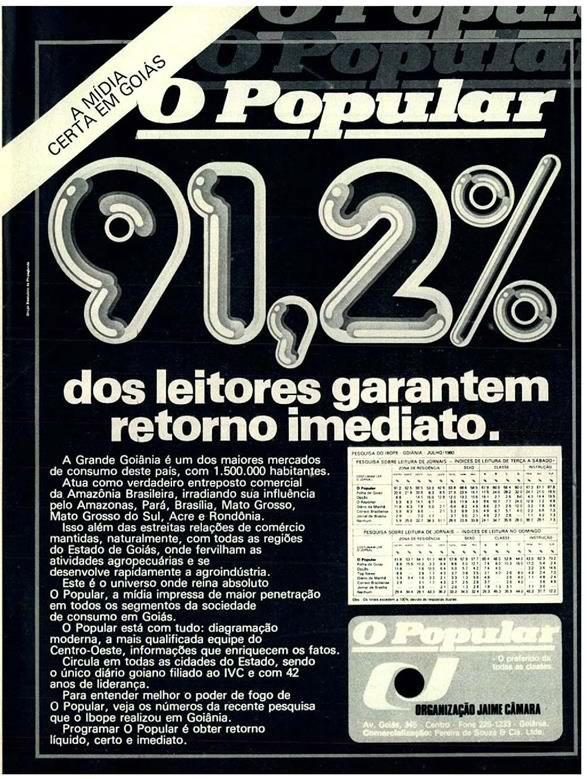 Propaganda antiga do jornal O Popular produzido pelo Grupo Jaime Câmara, em Goiás.