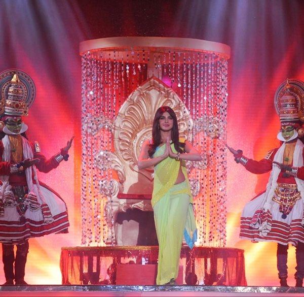 Bollywood diva Priyanka Chopra makes a grand entry at the Pond's Femina Miss India 2013 contest, held at Yash Raj Studios, in Mumbai, on March 24, 2013.