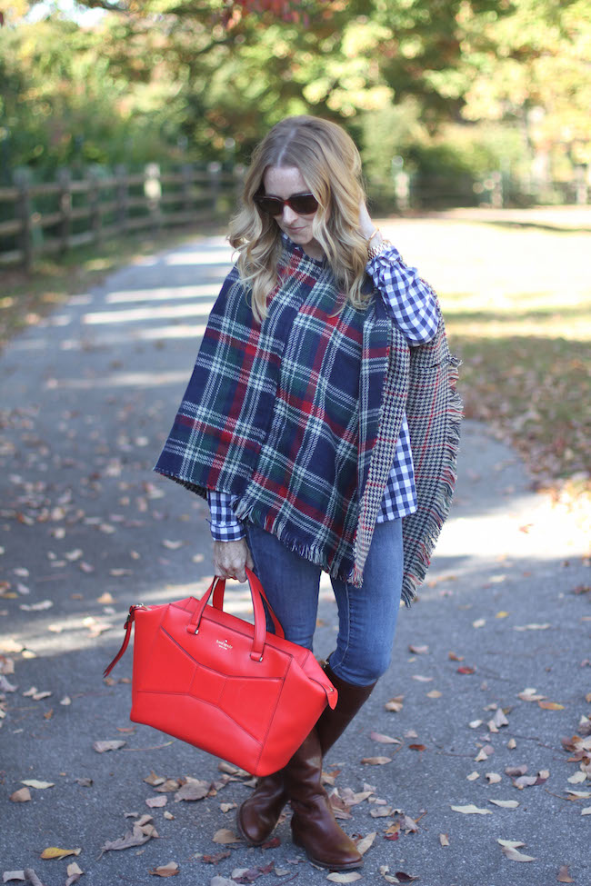 plaid cape, kate spade bag, tory burch boots, ray ban sunglasse