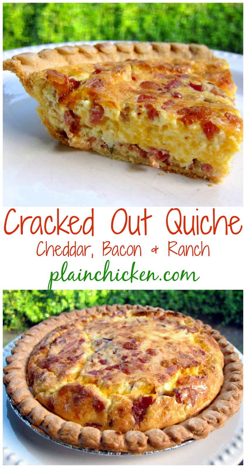 Cracked Out Quiche Recipe - homemade quiche filled with cheddar, bacon and ranch. SOOO good! Can make ahead of time and freeze unbaked for a quick breakfast/dinner later.