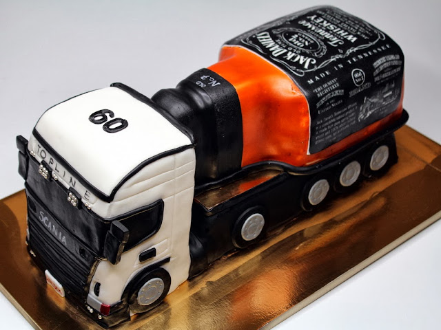 Scania Truck with Jack Daniels Whisky Birthday Cake