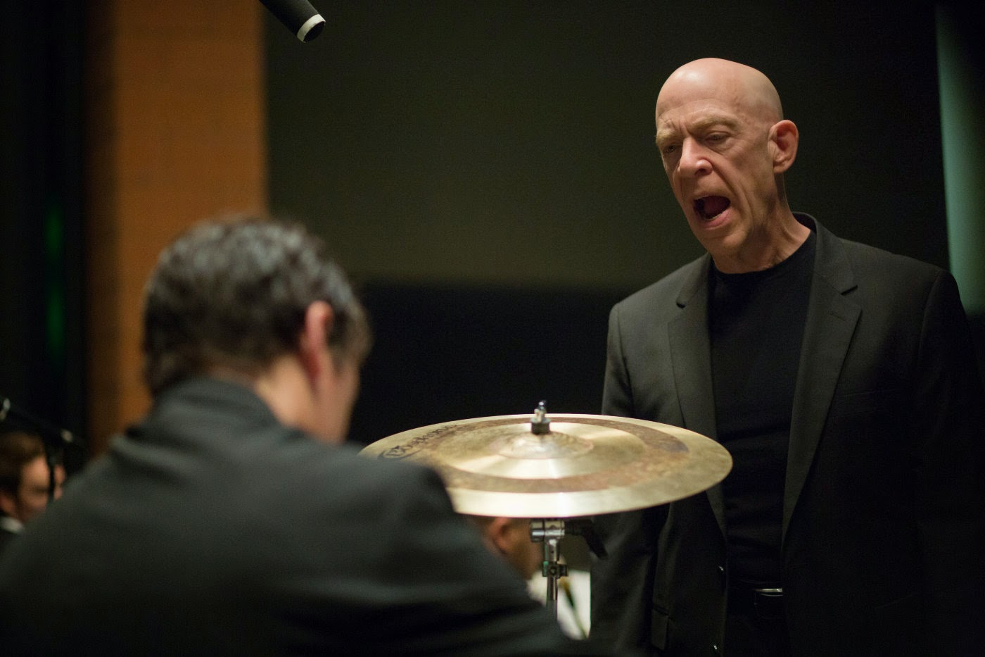 Miles Teller and J. K. Simmons in Whiplash